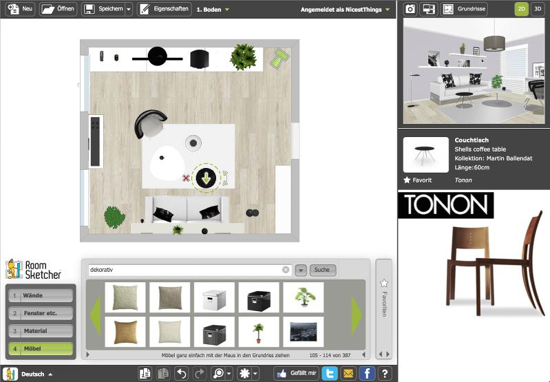 RoomSketcher Benutzeroberfläche