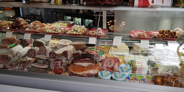 Salvi's chiller full of fresh Italian food in Manchester Cannoli Meats Cheese Cream
