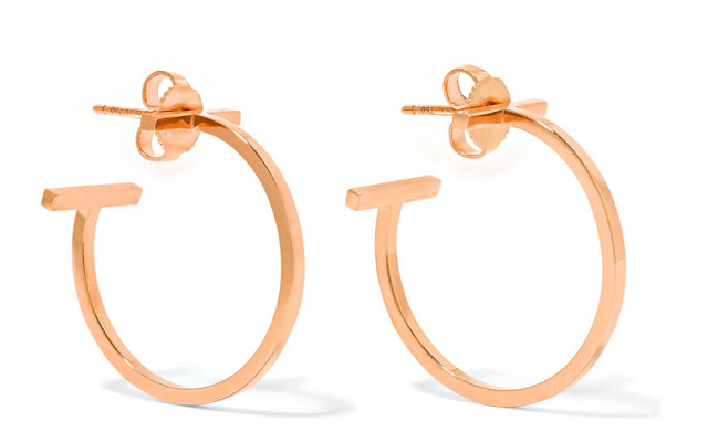 Tiffany & Co T-Wire 18-Karat Rose Gold Hoop Earrings