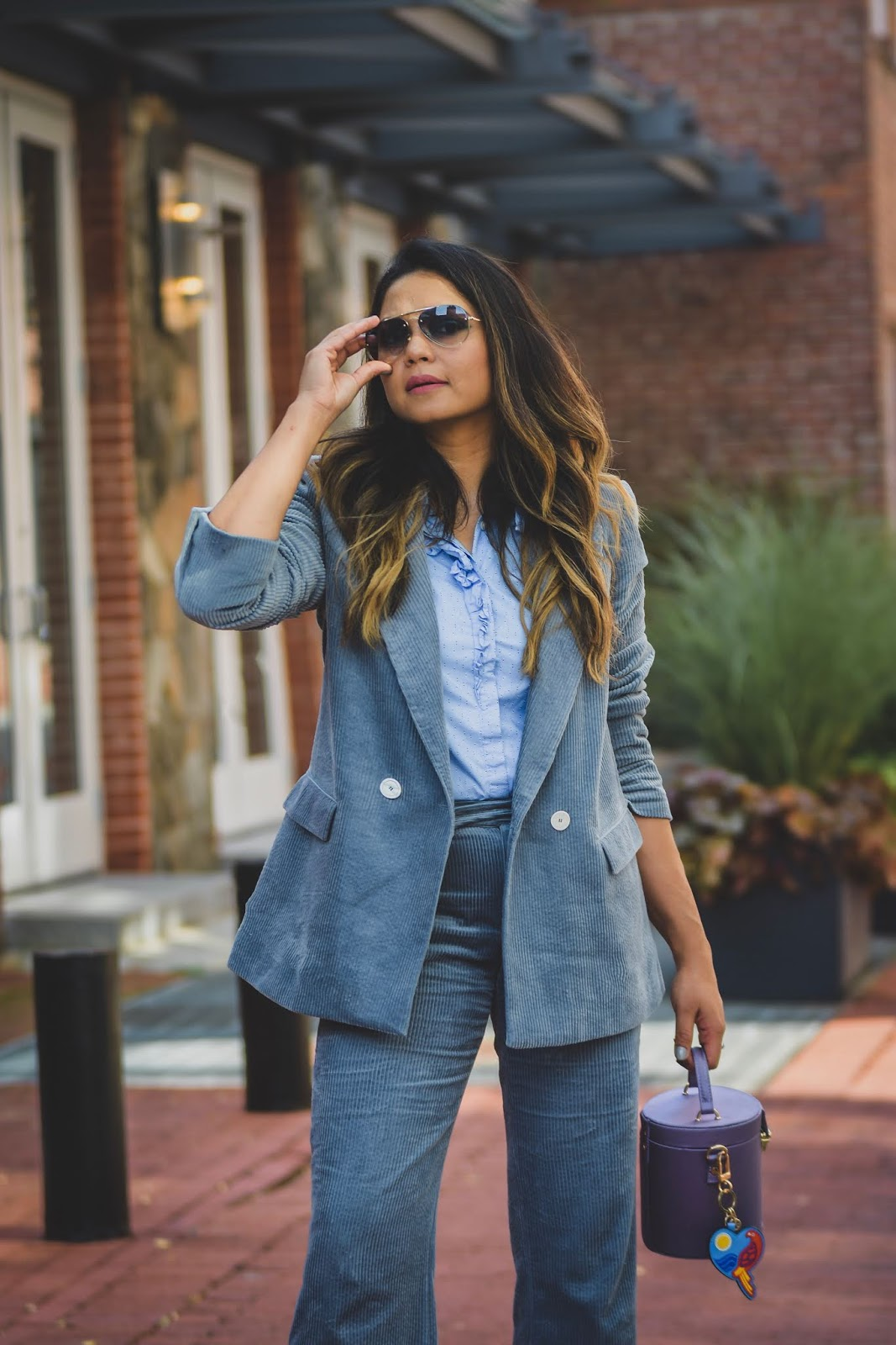 how to wear a corduroy pant suit, blue pant suit, zara pant suit, strappy sandals, purple bucket bag, street style, fall fashion, office style, office look, fashion, myriad musings
