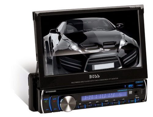 BOSS Audio BV9986BI In-Dash Single-Din 7-inch Motorized Detachable Touchscreen DVD/CD/USB/SD/MP4/MP3 Player Receiver Bluetooth Streaming Bluetooth Hands-free with Remote