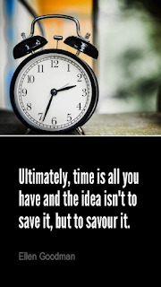visual quote - image quotation: Ultimately, time is all you have and the idea isn't to save it, but to savour it. – Ellen Goodman