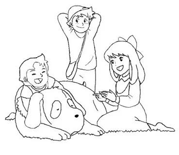 caricaturas Heidi, Clara y Pedro para colorear