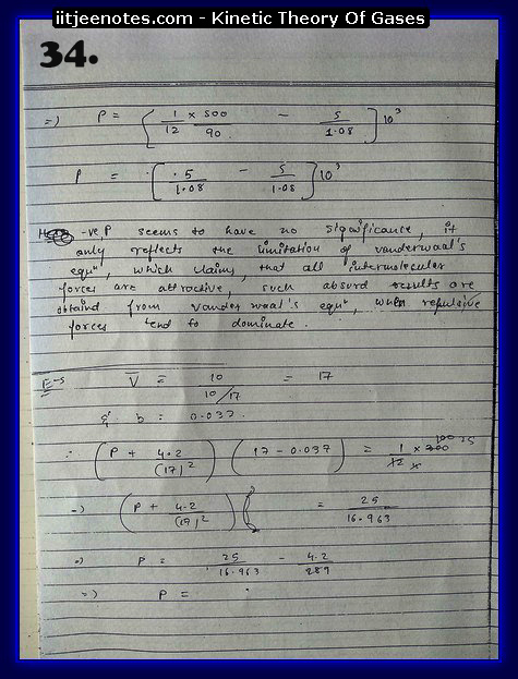 Kinetic Theory Of Gases Notes IITJEE4