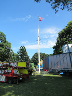 carnival rides being set up for the 4th of July Celebration