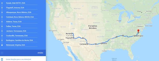 Roteiro de viagem ao redor dos Estados Unidos