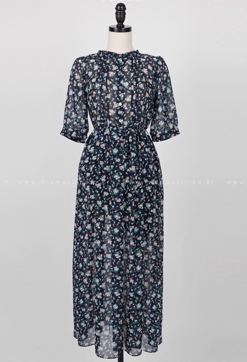 Sheer Floral Half Sleeve Midaxi Dress