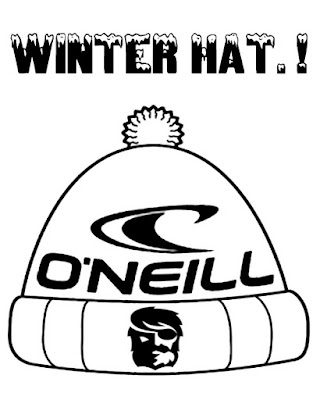 Wintry climate style design easy art activity O'Neill winter hat coloring image for teens to print