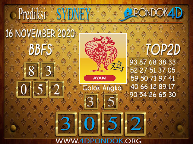 Prediksi Togel SYDNEY PONDOK4D 16 NOVEMBER 2020