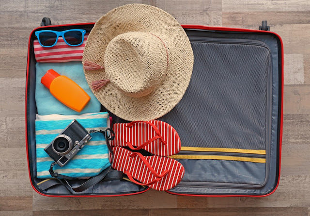 Beach Holiday Packing, Open Luggage, Travel Packing, Warm Weather Fashion, Travel, Fashion