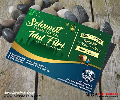 Contoh Desain Flyer - flayer - Brosur  Card Lebaran Idul Fitri 1442H | Percetakan Murah Nick Desain