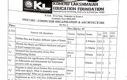 KL University 1st Year B.Tech Question Papers Computer