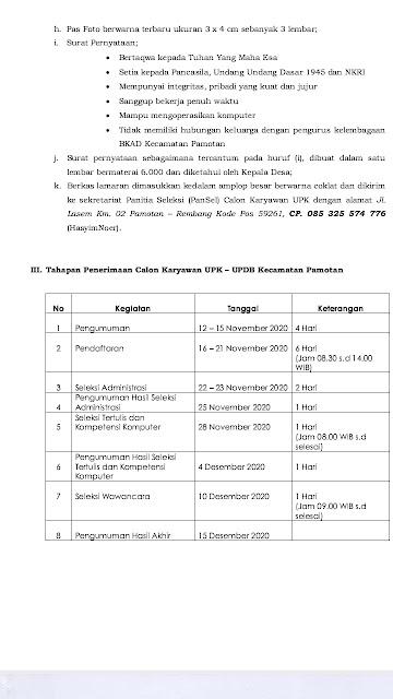 Lowongan Kerja Karyawan UPK UPBD BKAD Pamotan Rembang