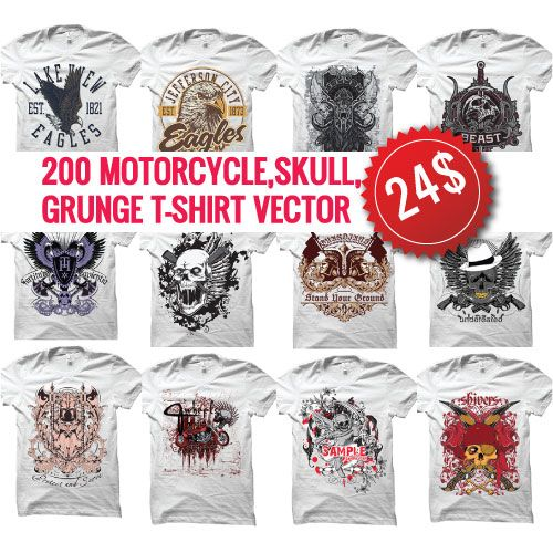 Unlimited grunge | skull | motorcycle t shirt vector