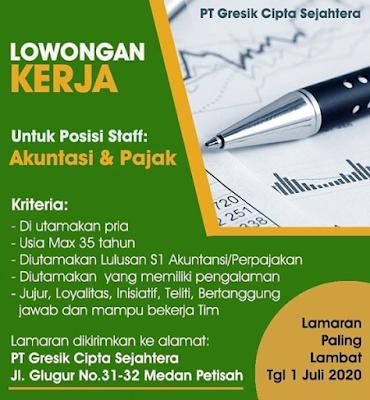 Info Loker Medan Juni 2020 di PT Gresik Cipta Sejahtera Sebagai Akuntansi & Pajak