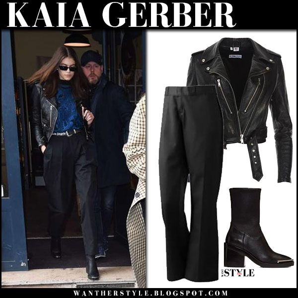 Kaia Gerber in black leather jacket, black pants and black boots alexander wang hailey fashion week style march 2