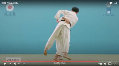 Picture of Judoka doing Uki Goshi and not grabbing the belt
