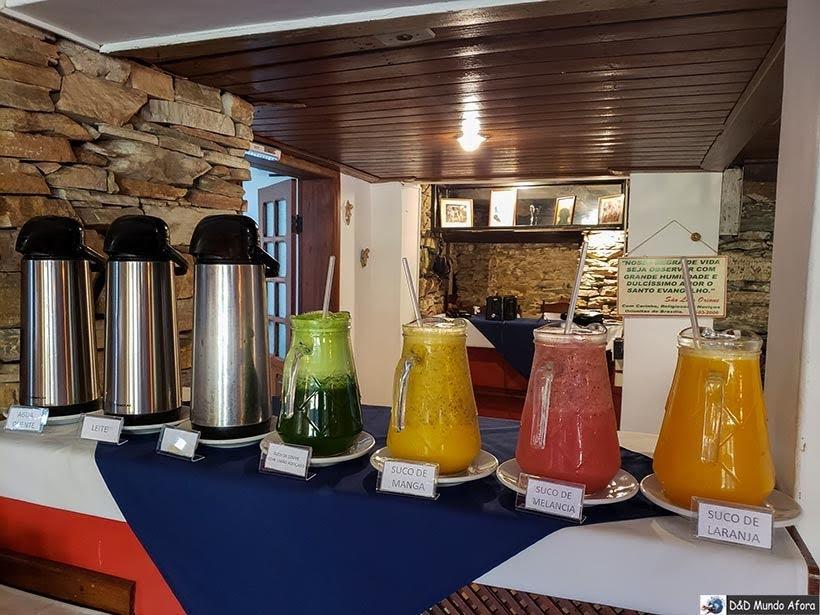 Sucos no café da manhã na Pousada Arcadia Mineira em Ouro Preto