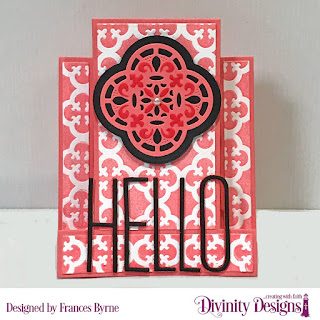 Custom Dies: Center Step A2 Card with Layers, Long & Lean Letters, Festive Favors (For You)  Embossing Folder/Die Duo: Quatrefoil
