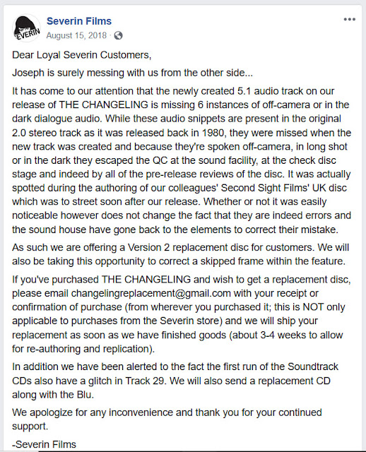 Severin Films' public apology for faulty THE CHANGELING discs.