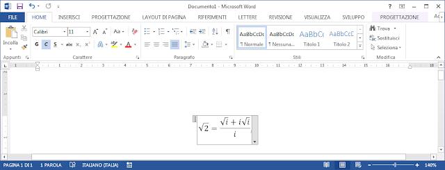 Formula creata tramite Pannello input penna espressioni matematiche e inserita in MS Word