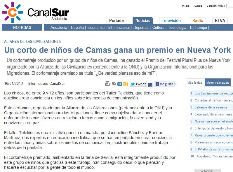http://www.canalsur.es/un_corto_de_ninos_de_camas_gana_un_premio_en_nueva_york/262355.html