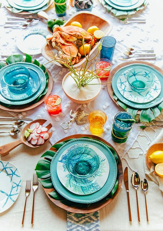 Eclectic Coastal Table Decor Styling