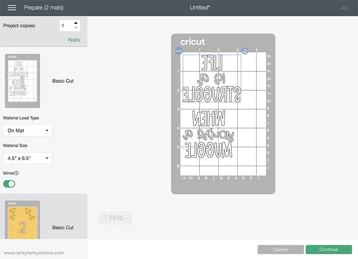 Cricut Design Space Mat Preview