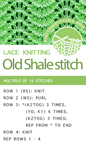 #KnittingStitches -- Knit Old Shale Lace Stitch. The stitch would be great for simple scarves, book covers and skirts!