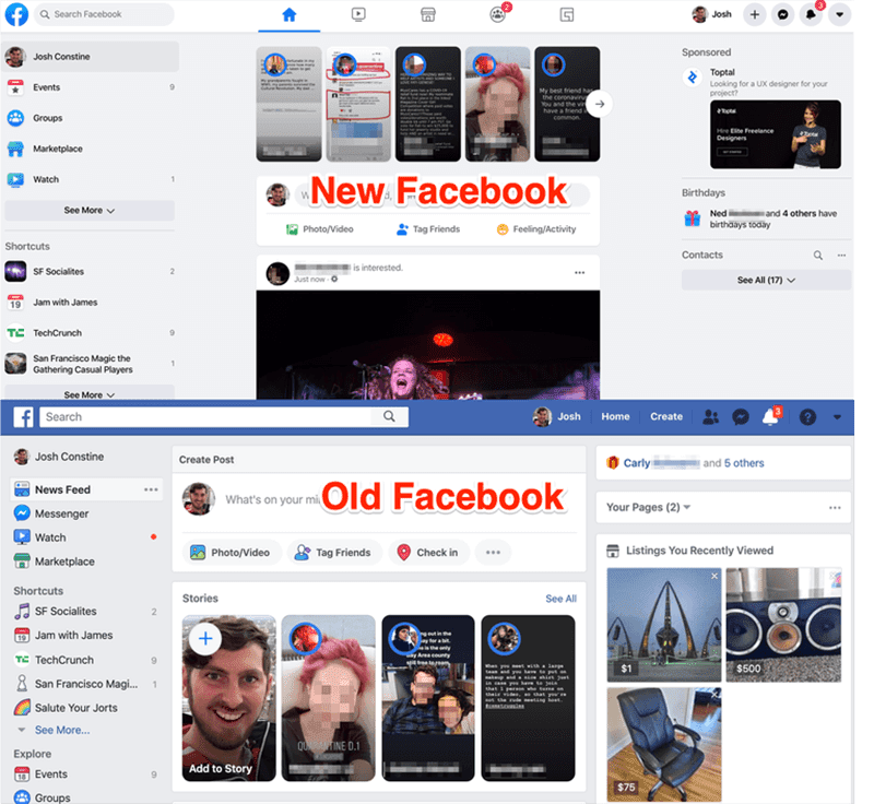Facebook new UI design