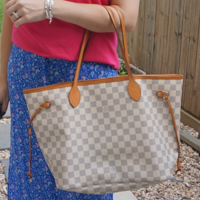 Louis Vuitton MM damier azur neverfull with floral maxi skirt outfit | away from the blue