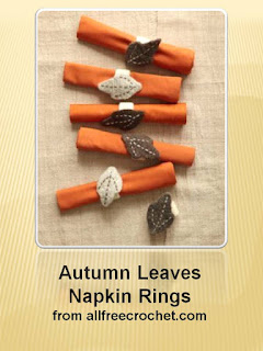 http://www.allfreecrochet.com/Thanksgiving-Crochet/Autumn-Leaves-Napkin-Rings-from-Lion-Brand