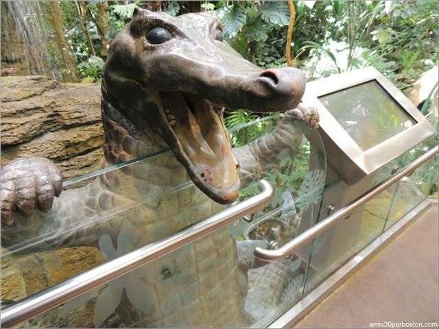 Selva Tropical del Biodôme: Escultura del Caimán