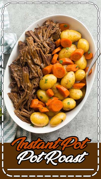 This Instant Pot Pot Roast recipe is an easy, comforting dinner that comes together so quickly in the pressure cooker! With tender veggies (not mushy!), a fall apart tender roast and seasoned gravy. With step by step VIDEO #instantpot #beef #recipe #cooking #dinner #healthy