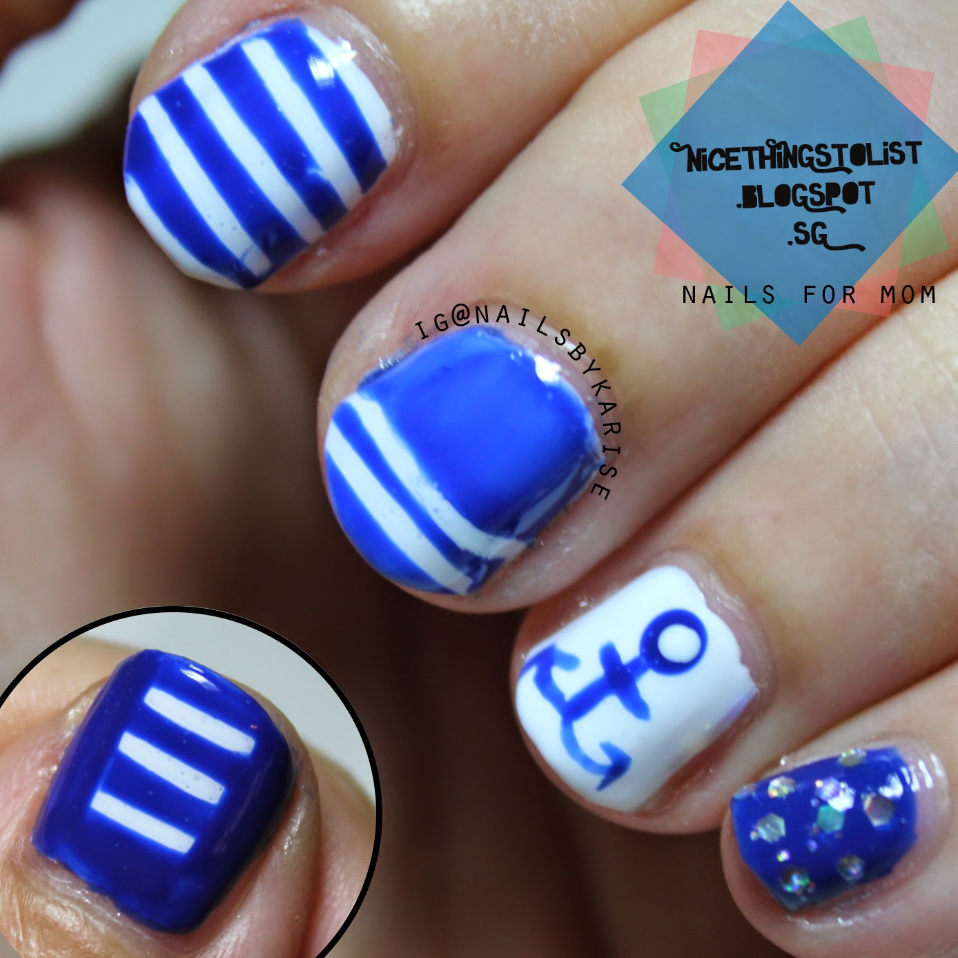 Anchor nail art for Mom - Nice Things To List
