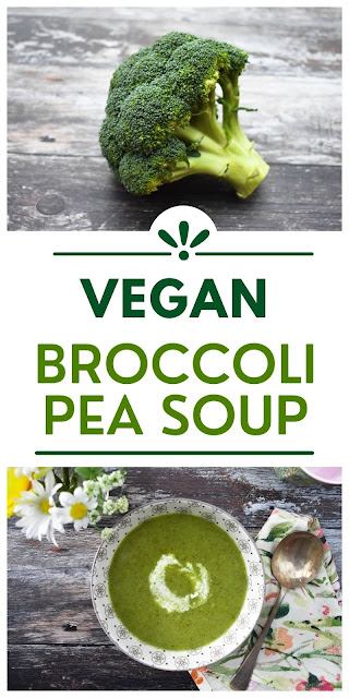 Easy vegan broccoli and pea soup with a swirl of plant-based cream