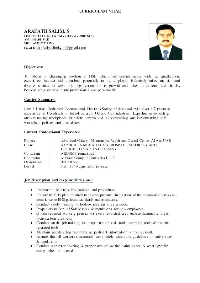 Safety Officer Resume Loss Prevention Sample In India 2019