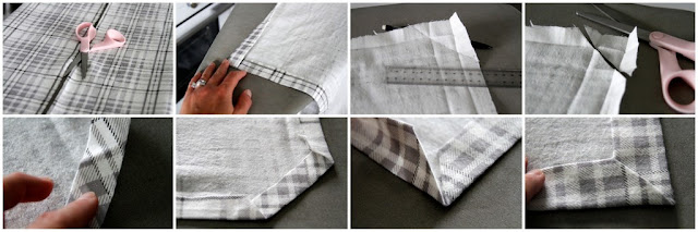 Step-by-step instructions how to sew a mitred corner on a blanket edge