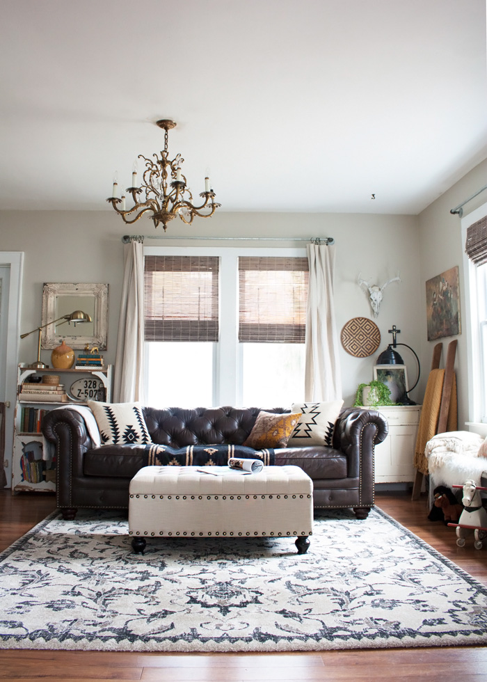thoughts from alice living room redo with a new leather sofa bohemian living room furniture