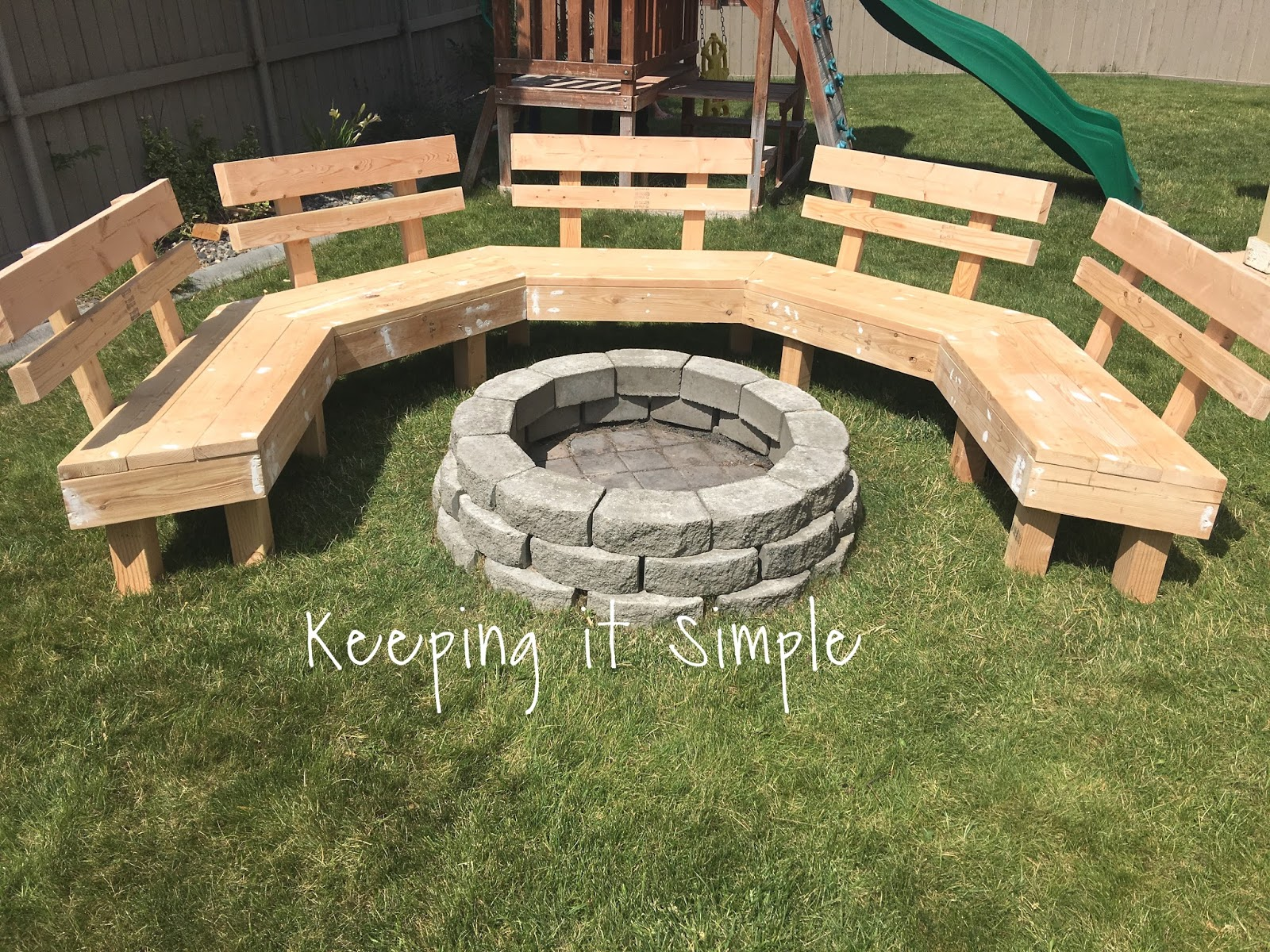 Diy fire pit bench with step by step insructions keeping for Step by step fire pit