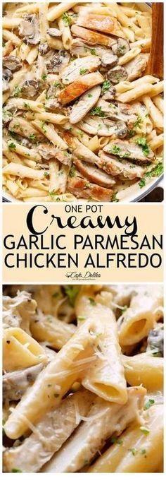 One Pot Creamy Garlic Parmesan Chicken Alfredo
