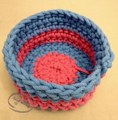 Adzik tworzy - koszyk na szydełku ze sznurka bawełnianego