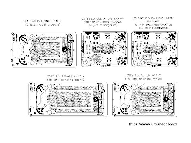 Swim Spa cad blocks free download, 5 Spa cad blocks, Spa dwg models