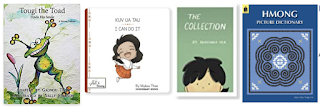 Book covers for Tougi the Toad, I Can Do It!, The Collection, and Hmong Picture Dictionary
