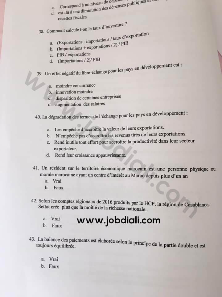 Exemple Concours de Recrutement des Administrateurs 2ème grade (ESM) 2019 - Haut Commissariat au plan