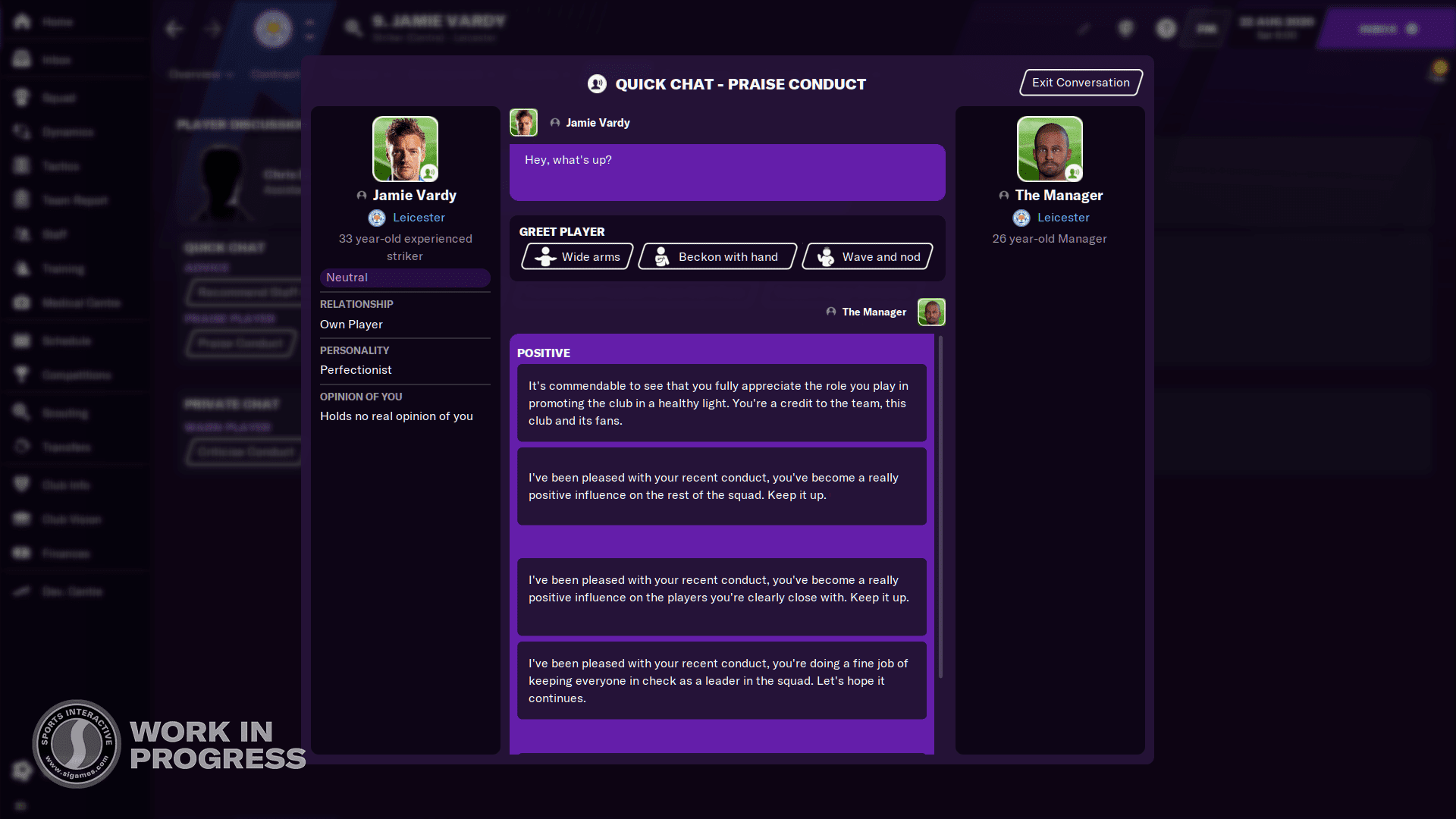 Football Manager 2021 Screenshots - Quick Chat