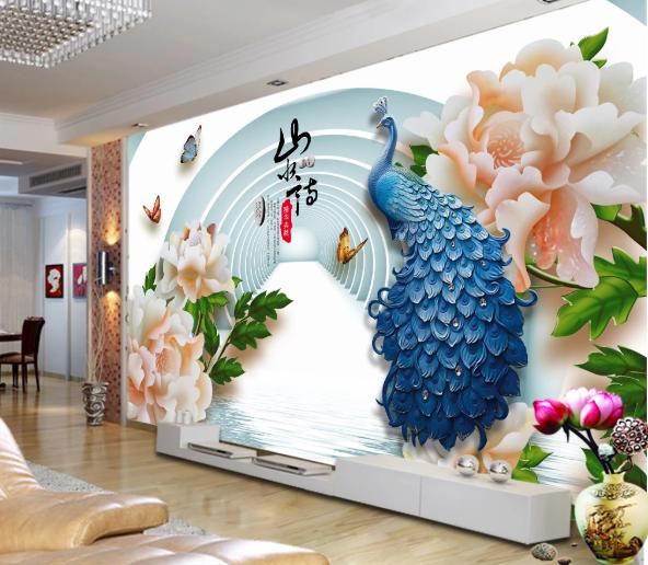 Tranh Hoa 3D Chim Công