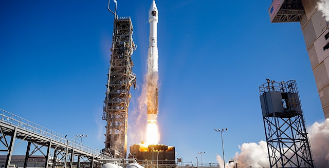 A United Launch Alliance (ULA) Atlas V rocket carrying a payload for the National Reconnaissance Office (NRO) lifts off from Space Launch Complex-3. Designated NROL-79, the mission is in support of national defense. Credit: ULA/Jeff Spotts