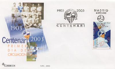 filatelia, sobre, sello, matasellos, Sabadell, fútbol, centenario