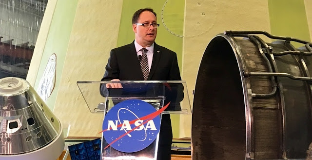 NASA's Acting Administrator, Robert Lightfoot, speaks on the agency's proposed 2019 fiscal year budget at the Marshall Space Flight Center on February 12, 2018. Image Credit: Scott Johnson / SpaceFlight Insider.